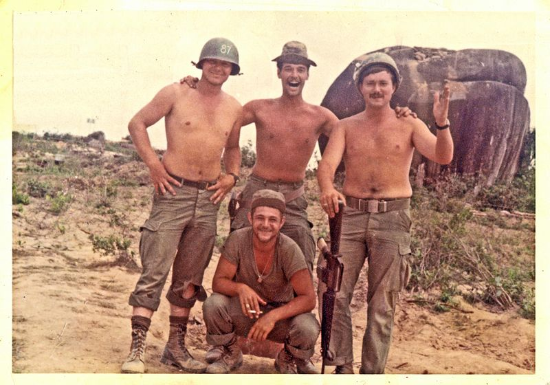 JWB-1 Terry Buelow, Jim Bertrand, Greg Jensen and Larry 'Bugsy' Morian (squatting) at LZ Colt