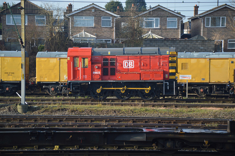 DB liveried 08623 sits on shed at Bescot TMD