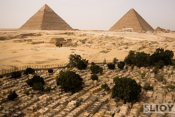The Pyramids at Giza. A unique viewpoint while working at an often-photographed tourist site.
