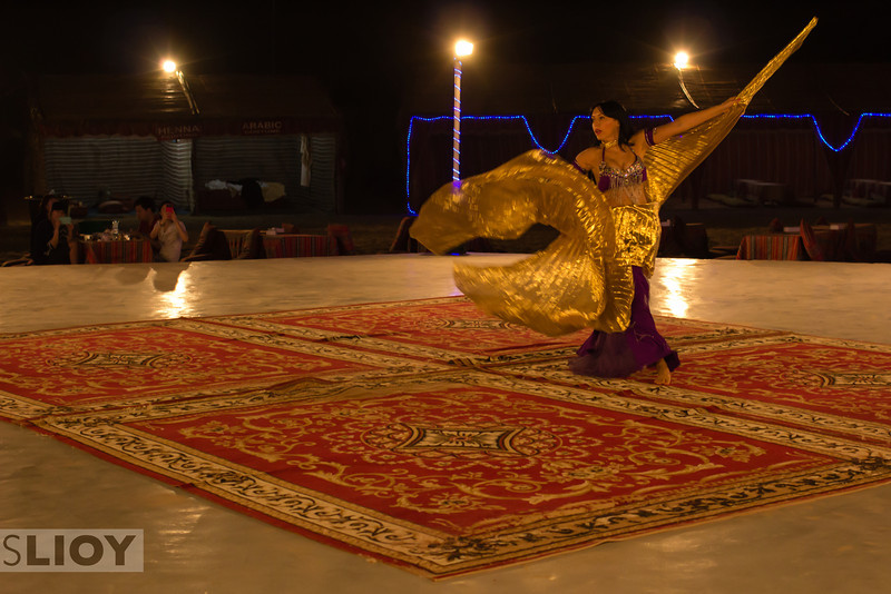 Belly dancer show at a Dubai Desert Safari.