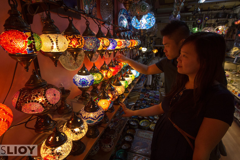 Istanbul's Grand Bazaar is an exceptional photography environment. Crystal and Johnny seemed to agree, and we probably stopped in 5 or 6 lamp shops until we found just the right layout and lighting!