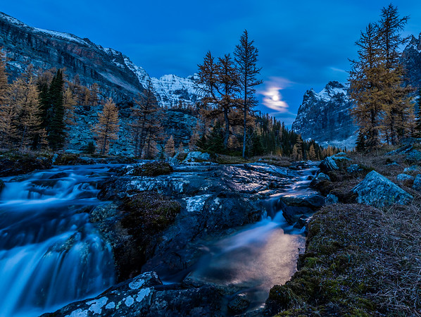Stream on the Opabin Plateau by Moonlight