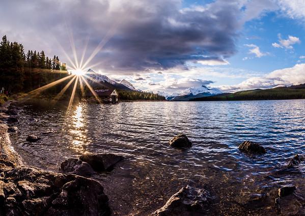 Sunrise Over Maligne Lake