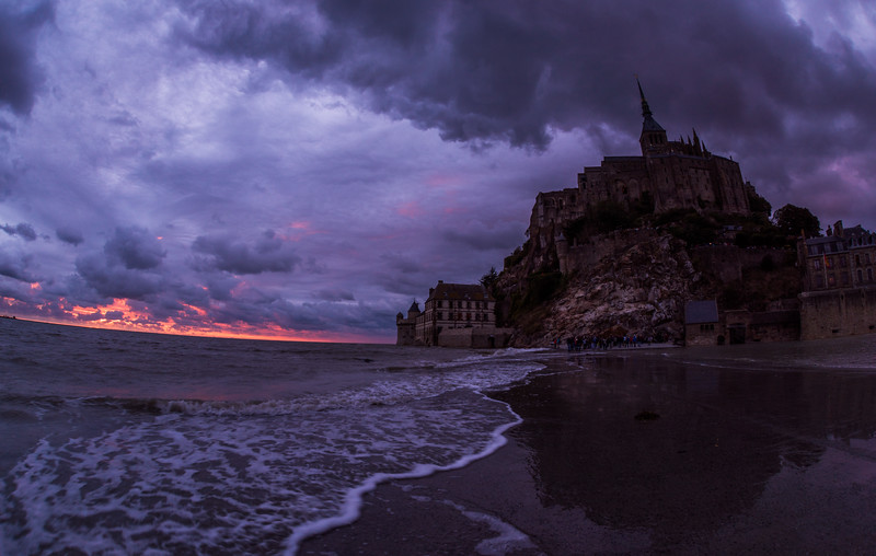 High Tide Approaches Mont Saint-Michel at Dusk