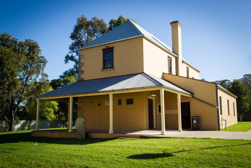 Wilberforce, Australia<br /> Macquarie School House (1819) outside St Johns Anglican Church.