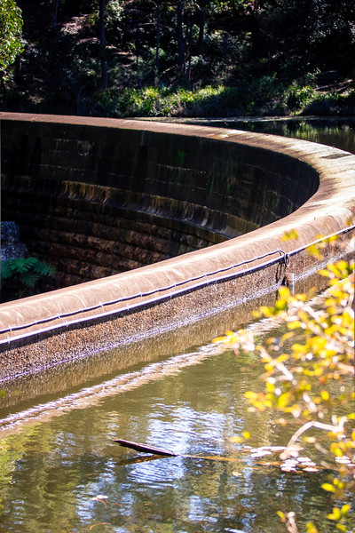 Dam, Lake Parramatta<br /> Hunt's creek was dammed in 1855-56, forming Lake Parramatta. Masonry wall designed by Lt Percy Simpson; land supplied by orchardist James Pye.