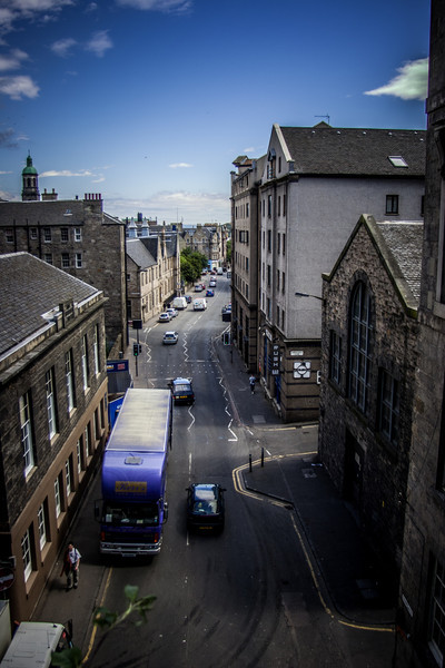 Edinburgh, Scotland<br /> Cowgate from the South Bridge. On the left is St Cecilia's Hall, the oldest purpose-built concert hall in Scotland.