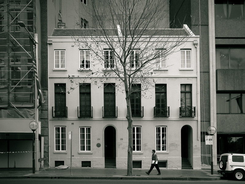Sydney, NSW, Australia<br /> Horbury Terrace. Once a group of eight houses, built in 1842 for Ouseley Condell. Their name derives from the second owner, Thomas Holt, a native of Horbury, Yorkshire.