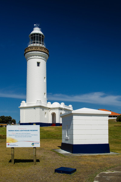 Norah Head, NSW, Australia<br /> Norah Head Lighthouse, built 1903. In the foreground is the former Flag Storage Locker; one of the lighthouse-keeper dwellings is in the distance.