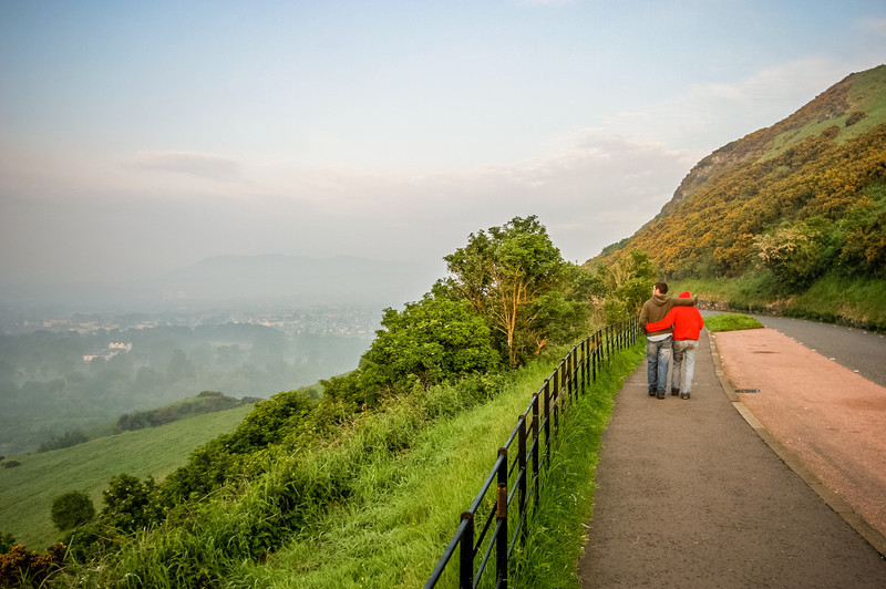 Holyrood Park, Edinburgh, Scotland<br /> Queen's Drive, a beautiful 3km stretch of road which encircles Holyrood Park.