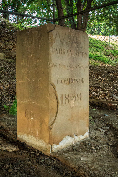 Parramatta, NSW, Australia<br /> One of the 9 boundary markers (6 still in or near their original locations - this one is under the James Ruse Drive Bridge) defining the edge of Parramatta. Erected in 1839 by David Lennox.