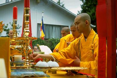 Monks Perform Sunday Service at Tinh Xa Quan Am Temple (Seattle, WA)