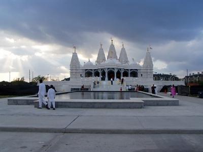 Gujarati Temples (Houston, TX) BAPS Swaminarayan Temple Spires Against a Houston Sky (Houston, TX)
