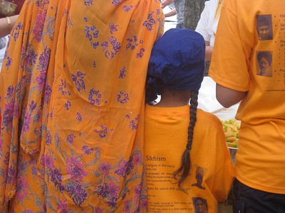 Sikh Mother and Daughter Commemorate Sikh Guru (Boston, MA)