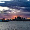 Panorama of Baltimore Inner Harbor at sunset