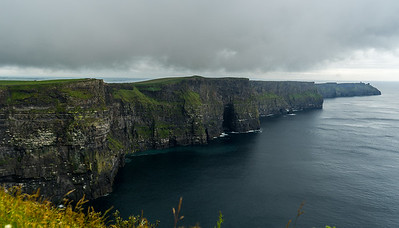 Mo 6/26 Western Ireland. Longer view of the Cliffs of Moher, looking south.