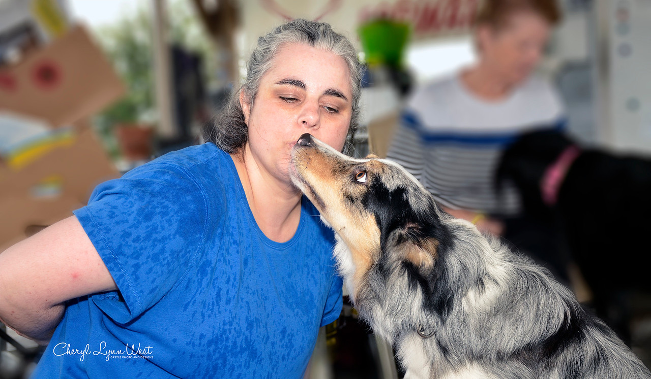 Tachi, a Bprder Collie, holding a kiss with owner, Shirley Conley