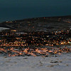Night descends on the town of El Calafate seen from atop the Cerro Huyliche plateau, in Patagonia, Argentina