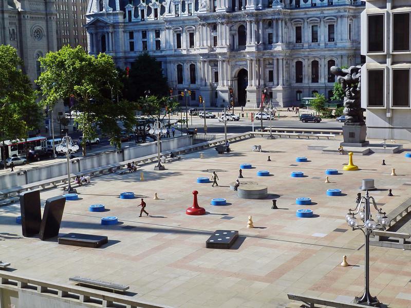Colorful plaza in downtown Philadelphia, Pennsylvania