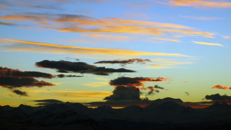 Post eclipse sunset seen from atop the Cerro Huyliche plateau, in Patagonia, Argentina