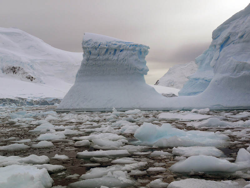 "Glacier walls and ""bergy-bits"" in the Crystal Sound, Antarctic peninsula"