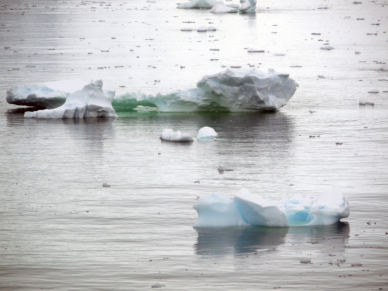 """Green and blue """"bergy-bits"""" in the Crystal Sound, Antarctic peninsula"""