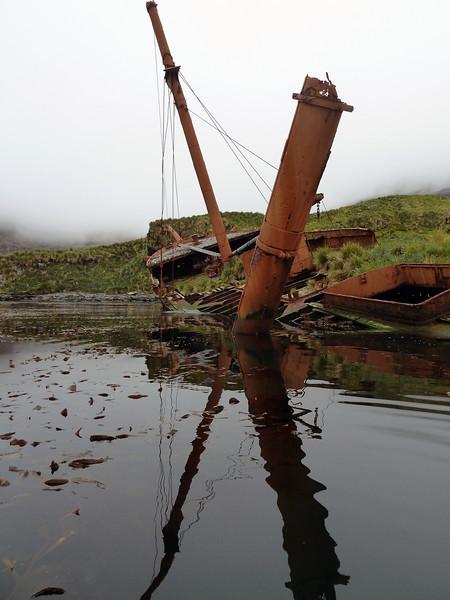 Abandoned whaling ship in Prince Olav Harbour, South Georgia, British Sub-Antarctic Territory