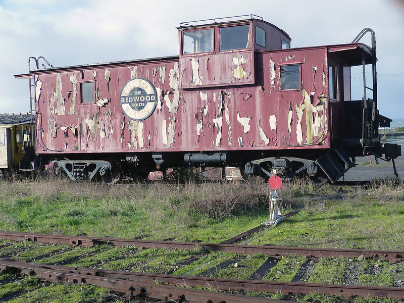 Abandoned caboose in Fort Bragg, California