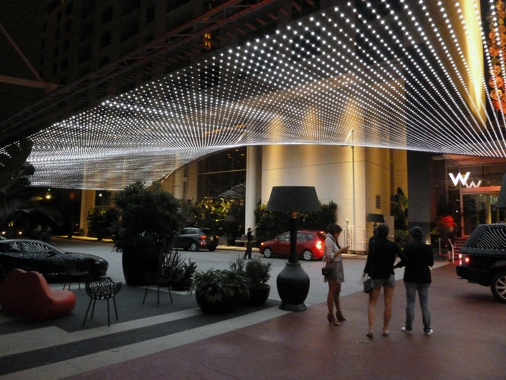 LED entrance marquis at the W Hollywood hotel in Los Angeles, California