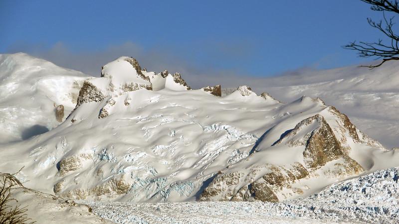 Mountains above the Perito Moreno glacier at Los Glaciares national park in Patagonia, Argentina