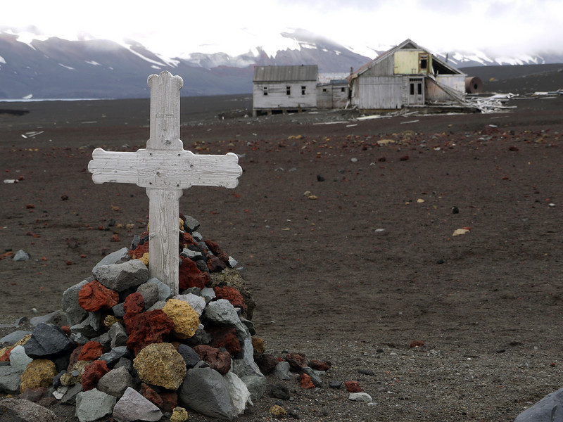 Grave at abandoned whaling station on Deception Island, South Shetland Islands, Antarctica