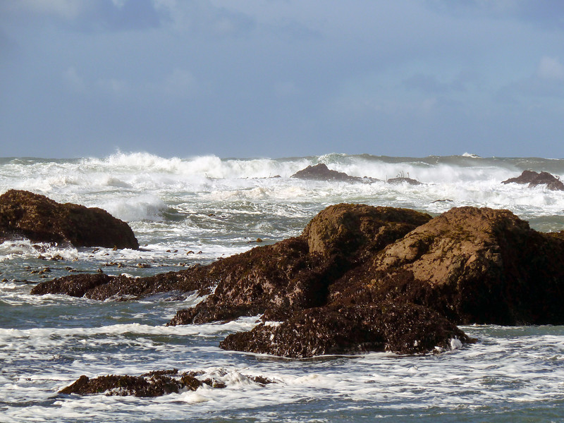 Pounding surf off Glass beach in Fort Bragg, California