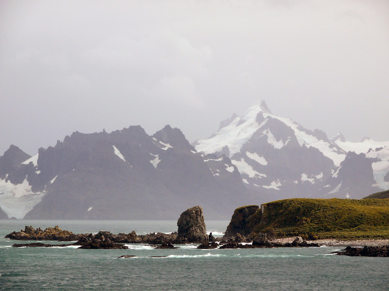 Dramatic mountainous terrain at Cooper Bay, South Georgia, British Sub-Antarctic Territory