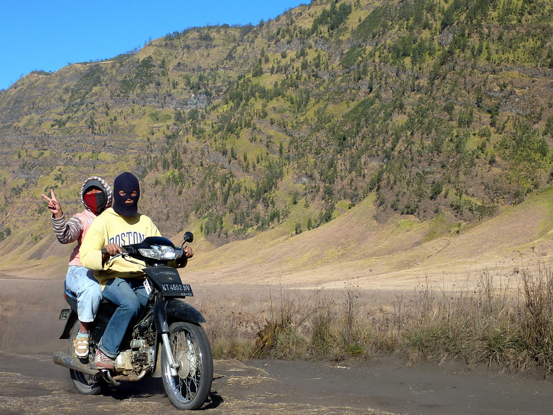 Freindly terrorists out for a spin amid the dust clouds they stir up in the Sand Sea surrounding Mt Bromo.