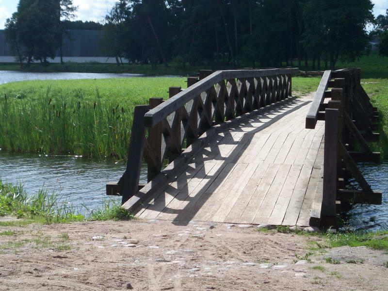 Scenic bridge in the gardens surrounding Radzivill castle in rural Belarus
