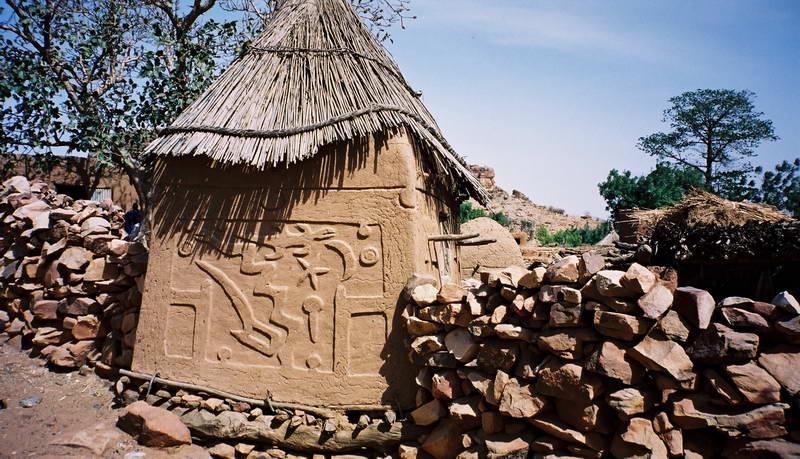 Dogon millet storage huts in Songo village along the Bandiagara escarpment in Mali