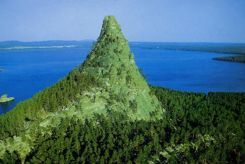 Organic green mountain in central Kazakhstan.