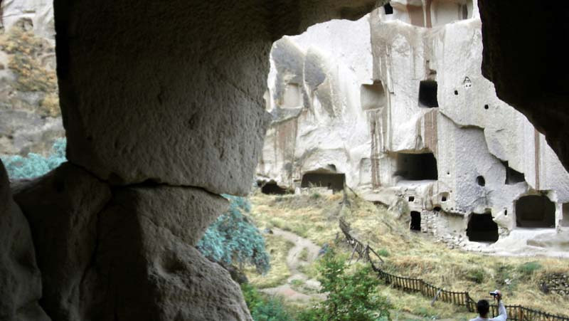 View from the caverns out to the cliffsides in the Zelve open air museum in Kapydokia, Turkey.