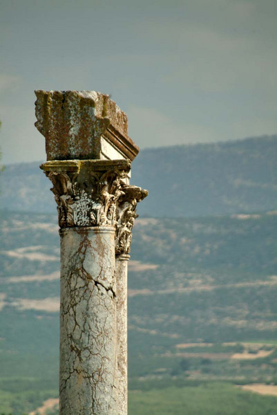 Lonely colonnade remnant at the temple of Aphrodisias, along the Lycian Way, Turkey.