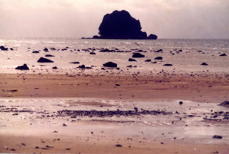 Sunset beach on the coast of Batam island, Rhiau province Indonesia, near Nagoya