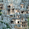 Temple tombs carved into the cliffsides in Myra, along the Lycian Way, Turkey