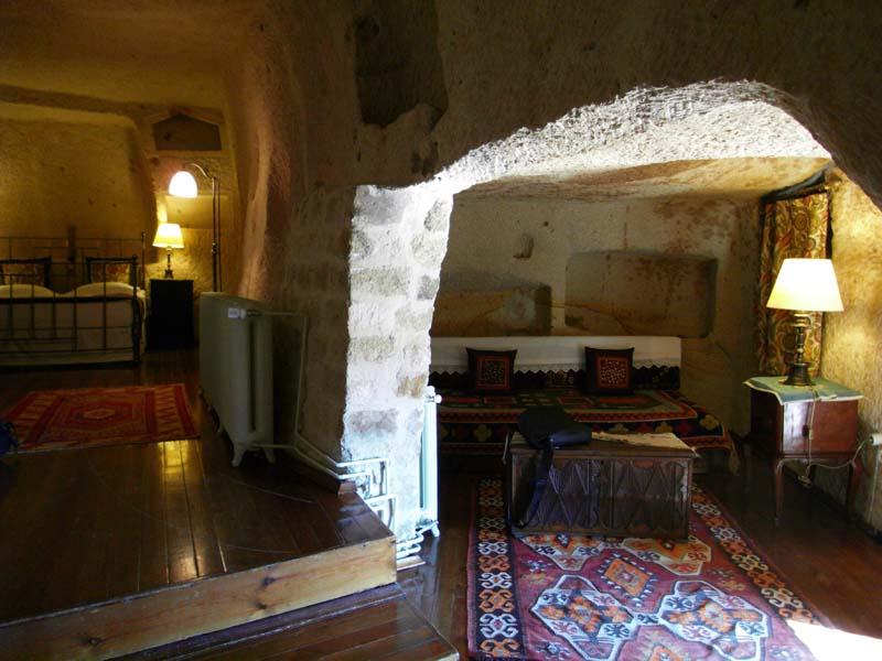 Yunak Evleri cave hotel room in Urgup, Kapydokia Turkey.
