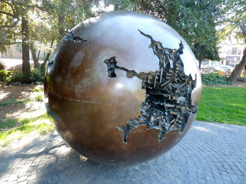 Globular sculpture on campus in Berkeley, California