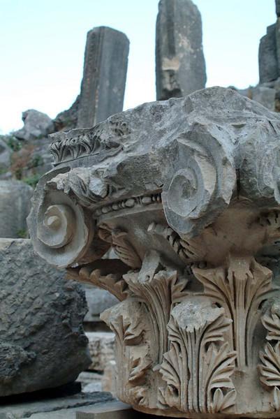 Detail of a column capital in Myra, along the Lycian Way, Turkey.