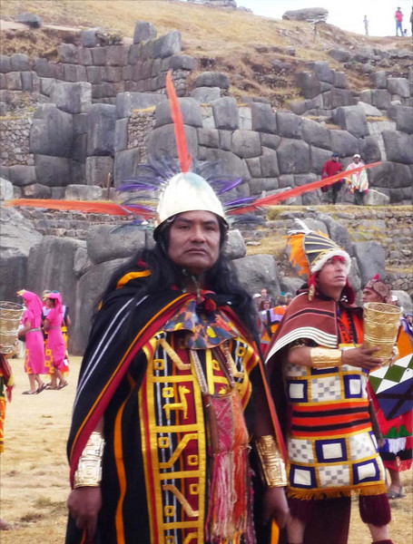 The high priests of Sacsayhuanman at the Inti Raymi celebration in Cuzco, Peru