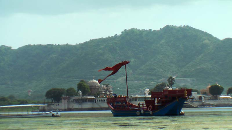 Scenic barge on the lake in Udaipur, Rajastan India.