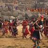Flautists during the Inti Raymi celebrations in Sacsayhuanman near Cuzco Peru.