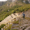 Avid trekkers on the path to the sun gate at Machu Picchu, Peru.