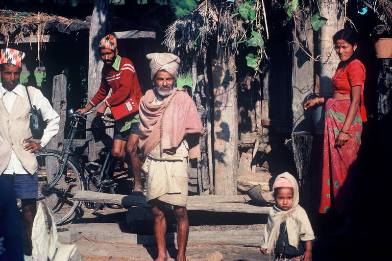 Three generations - all curious outside of Kathmandu, Nepal.