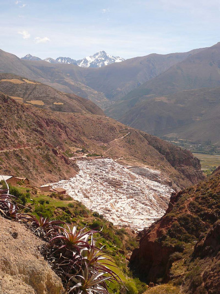 Distant view of the terraced salt farms of Maras in Peru.